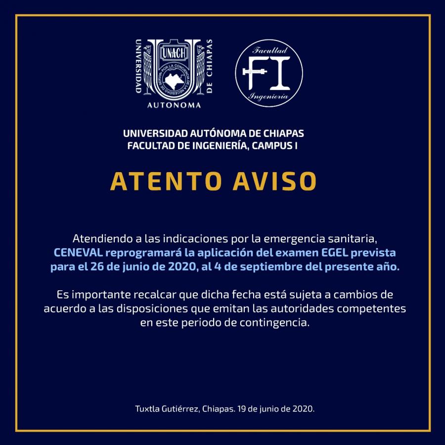 ATENTO AVISO: Nuevas fechas de aplicación del Examen CENEVAL-EGEL